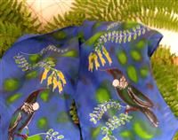 TUI  WITH KOWAHI TREE. HANDPAINTED PURE SILK SCARF  NZ HANDMADE